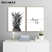 цена на NUOMEGE Pineapple Wall Art Canvas Posters Prints Nordic Love IF Paintings Black White Wall Picture for Living Room Home Decor
