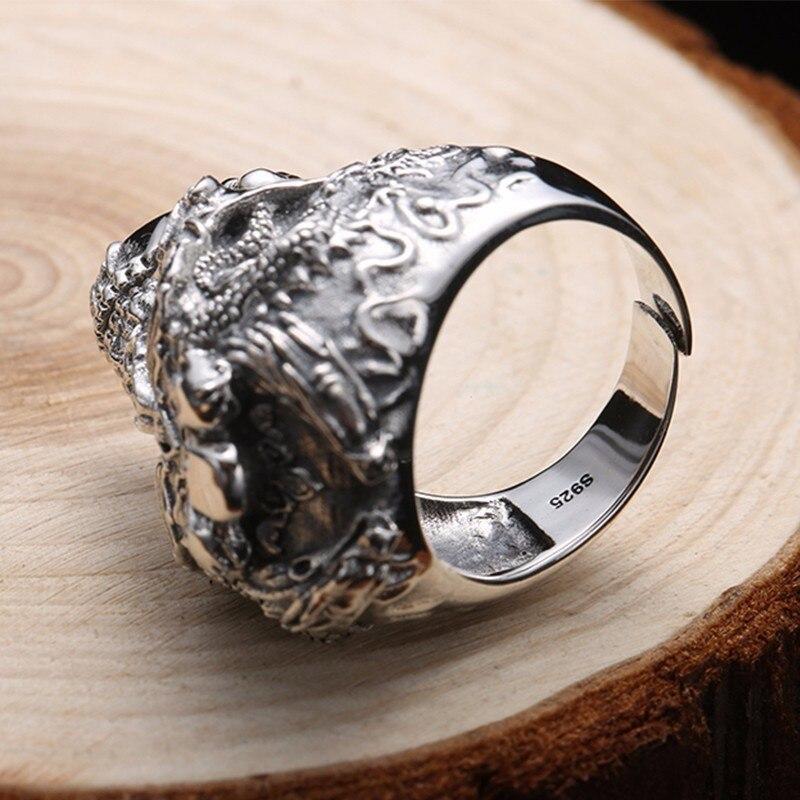 Image 3 - ZABRA Real 925 Sterling Silver Skull Ring Men Adjustable Dragon  Ring Punk Rock Many Skeletons Mens Gothic Halloween Jewelryring  punkskull ring mendragon ring