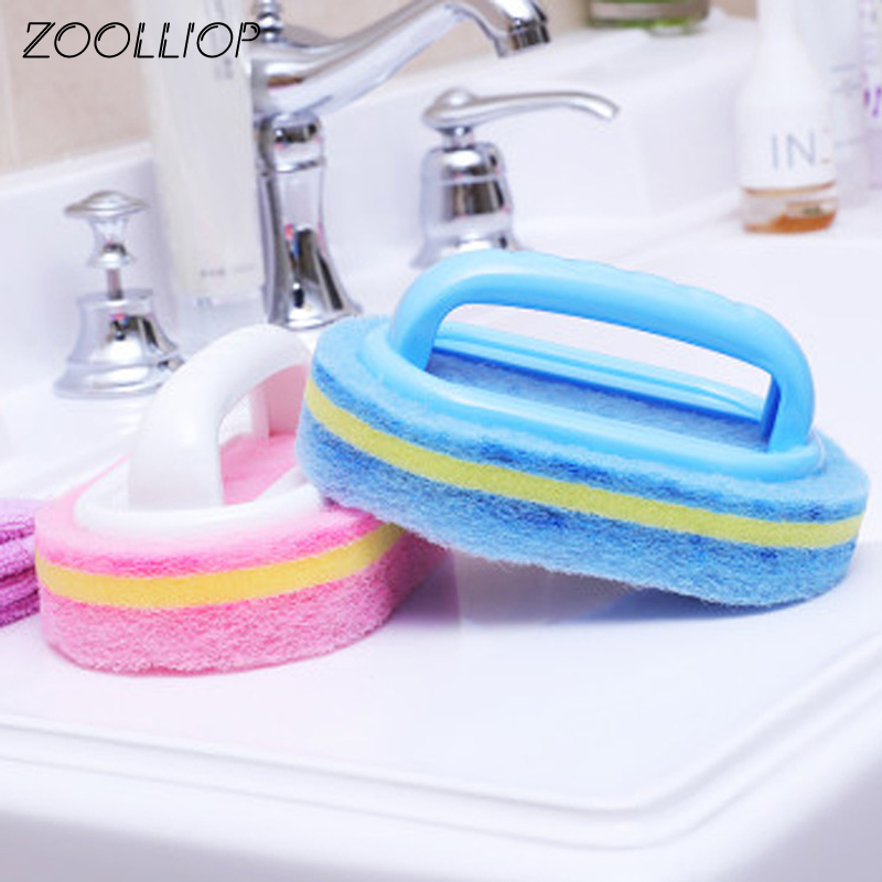 Kitchen Cleaning Bathroom Toilet Kitchen Glass Wall Cleaning Bath Brush Plastic Handle Sponge Bath Bottom Cleaning Tools|Cleaning Brushes| - AliExpress