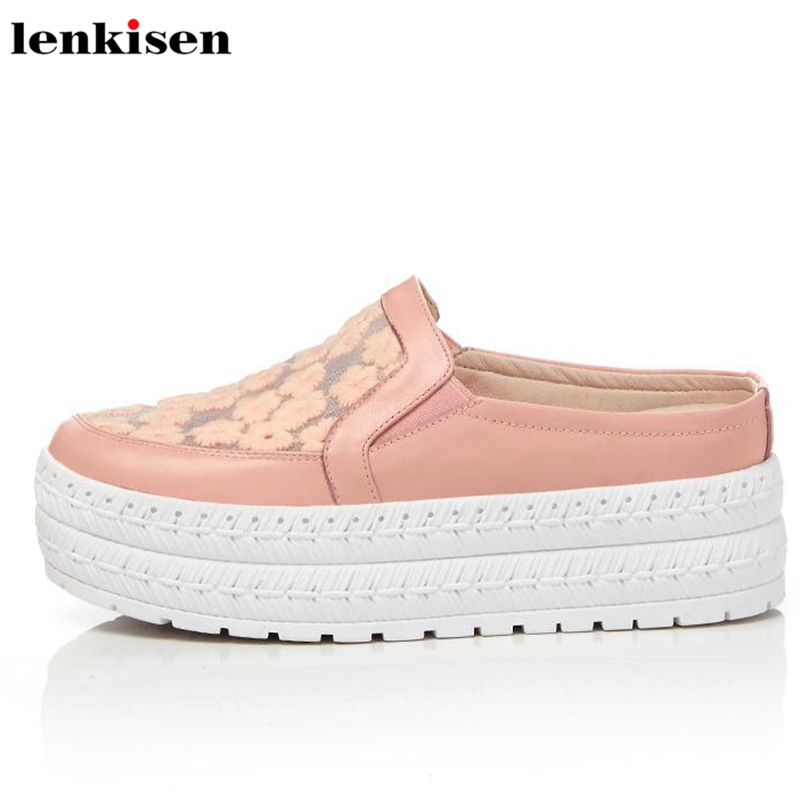 Lenkisen round toe slip on cow leather solid causal shoes thick med heel air mesh women concise style mules vulcanized shoes L82