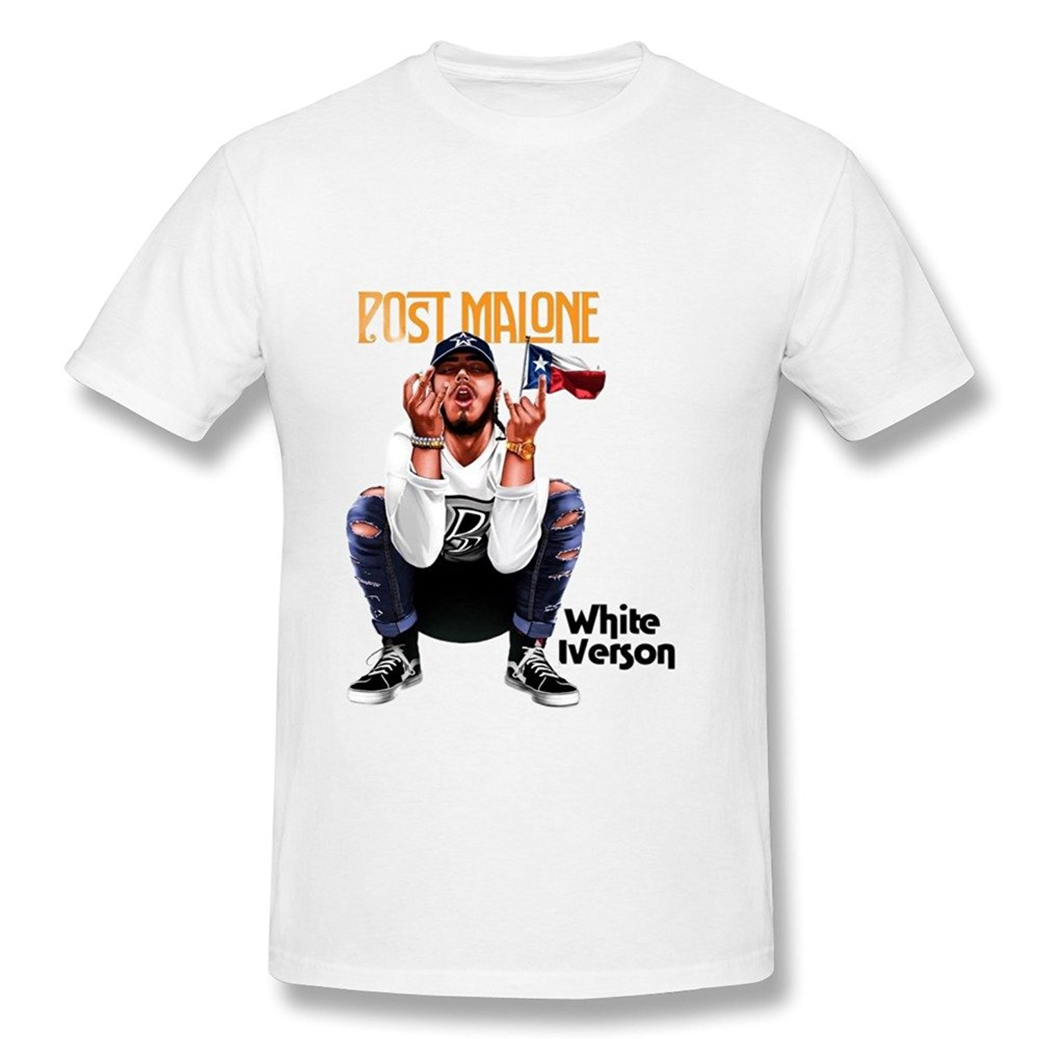 Ray Oak Band Men's Post Malone White Iverson T Shirt White
