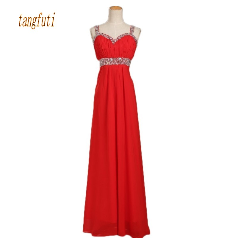 Long Red   Bridesmaid     Dresses   Spaghetti Straps Beading Sequins A Line Chiffon   Dress   Wedding Party Gowns