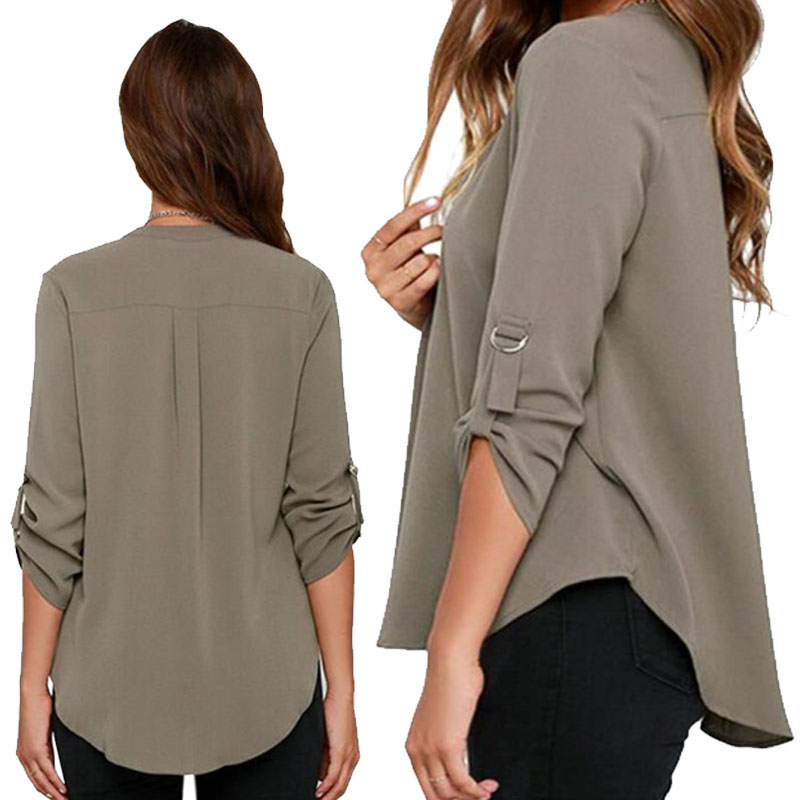 HTB1ztoSkbsrBKNjSZFpq6AXhFXaG - Autumn Women V-neck Chiffon Blouse 3/4 Sleeve Female Solid Casual Shirt Large Size Feminina Camisas Blusas Plus Size