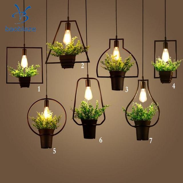Rétro Style Industriel Plafond Lampe Pendentif Lumi¨re Plante Pot De