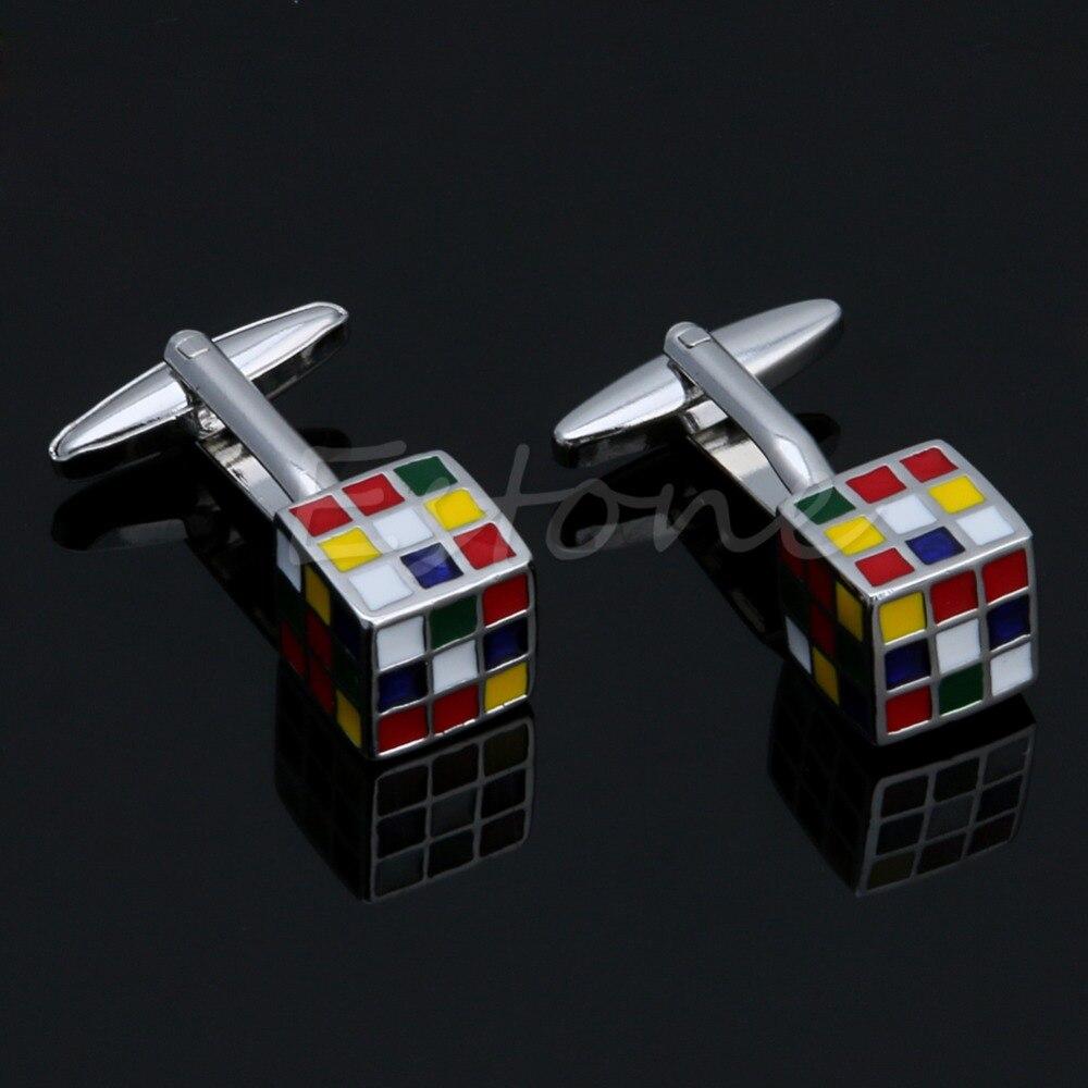 Fashion Style 1pair Men's Stainless Steel Cufflink Rubik Cube Design Dress Shirt Cuff Links
