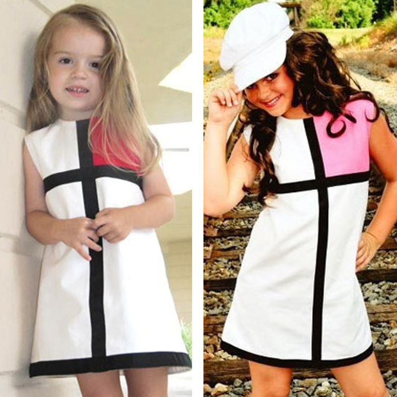 Retail Baby Girl Party Dress Cross Splice Kids Dresses Girls Clothes 2016 Summer Style Children's Dresses 1-7T vetement enfant
