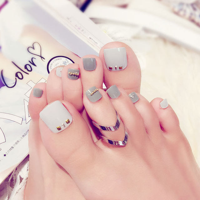 Online Shop 24Pcs Milk Grey Rivets False Toe Nails Light Color White