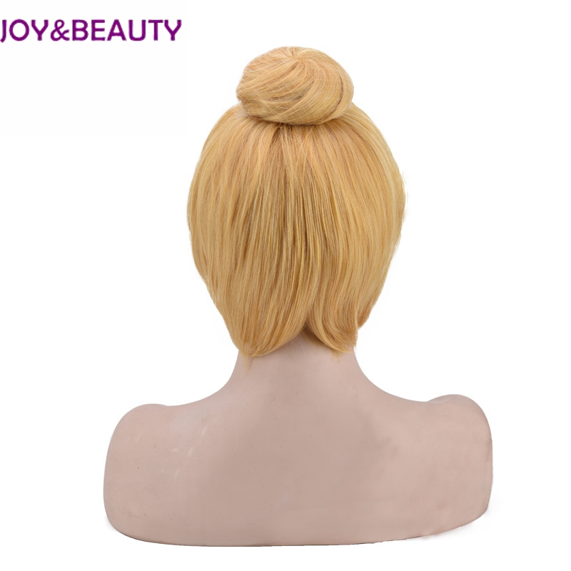 JOY&BEAUTY Short Straight cosplay wigs Golden Color Synthetic High Temperature Fiber Hair 30cm children and adults available