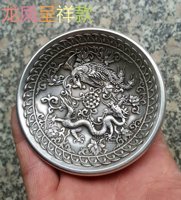 antique The ancient Chinese qing Dragon Phoenix pattern plate