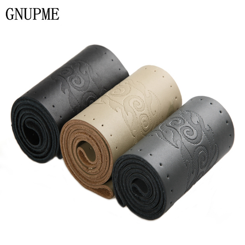Genuine Leather DIY Auto Steering Wheel Covers 38cm Rutile Braid Steering Needle And Thread Interior Accessories 36cm 38cm 40cm perforated breathable skidproof steering wheel cover diameter 36cm 38cm 40cm fiber leather handlebar braid car covers