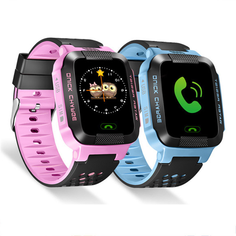 "Kids SmartWatch 1.44 ""HD touchscreen voor Android IOS-systeem met AGPS + LBS-positionering met zaklamp & camera smartwatch"