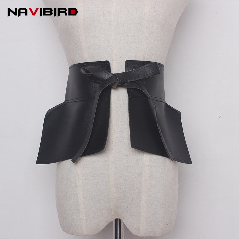 2019 Trending Woman Wide Bow-Tie Corset Belt Fashion Ruffle Skirt Peplum Belts Pu Leather Cummerbund Decoration Drawstring Riem