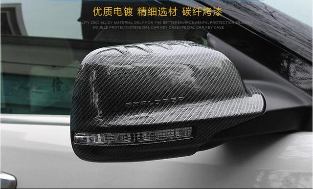 2pcs Carbon Fibre Car Side Mirrors Rearview Cover Trim For Ford