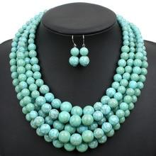 Multi soporte collar de turquesa grano de la resina de plástico de color declaración collar de las mujeres cadenas collares de moda joyería del partido 6510