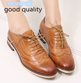Women Lace-up Casual Brogue Shoes Genuine Leather Women Flats Shoes for Lady Bullock Leisure Women Oxford Shoes Women A068-1