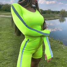 Fashion Womens Wear 2019 Reflective Fluorescent Green Long-sleeved Sunscreen T-shirt Five-pants Casual Yoga Gym Suit Female