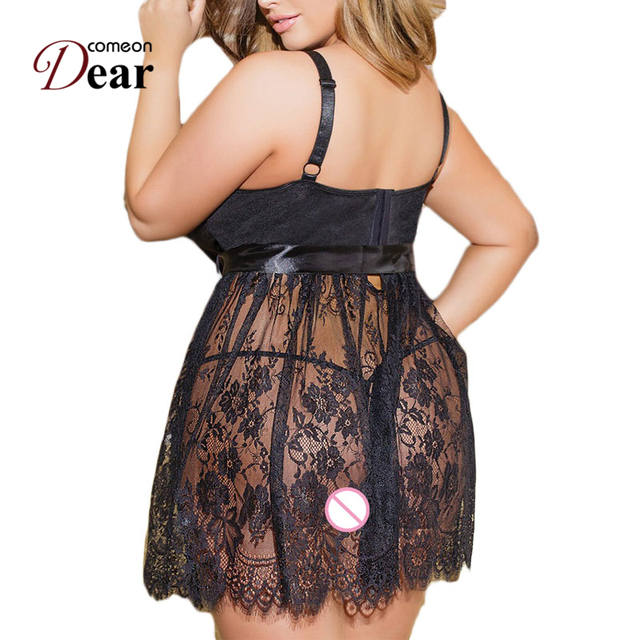 Comeondear Ropa Interior Mujer Sexy Erotica Erotic Dress Sexy Chemise Dress + G string + Belt  RB80456 Sexy Sleepwear Lingerie