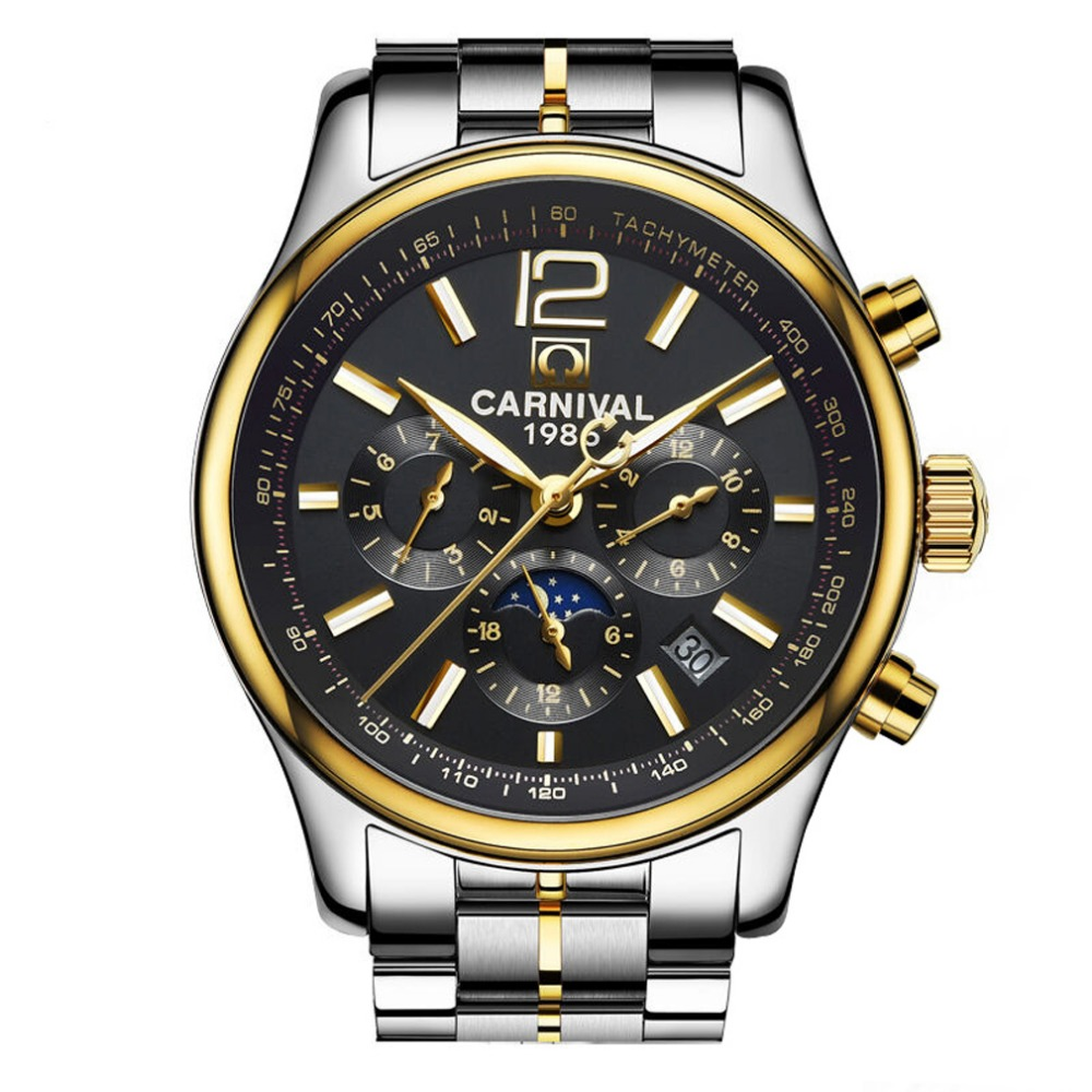 Carnival Mens Multifunction Dial Steel Watchband Automatic Mechanical Watch Wristwatch - gold bezel black dialCarnival Mens Multifunction Dial Steel Watchband Automatic Mechanical Watch Wristwatch - gold bezel black dial