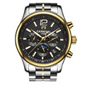 Carnival Mens Multifunction Dial Steel Watchband Automatic Mechanical Watch Wristwatch - gold bezel black dial