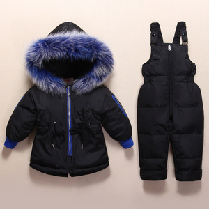 Image 4 - New Russian Winter Clothes for Baby Boys Girls 1 4years Children Down Suit Genuine Fur Collar Kids Down Jacket Girls Winter Coat