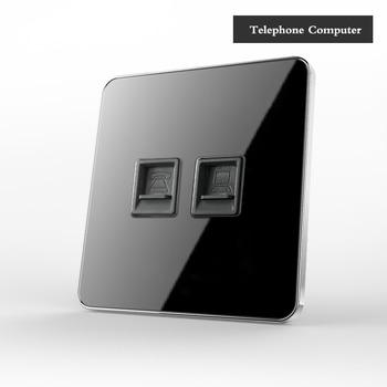 Type 86 Black mirror switch Household Wall TV Computer socket LED Light- Point switch 1 2 3 4 gang 1 2 way  EU socket USB 19