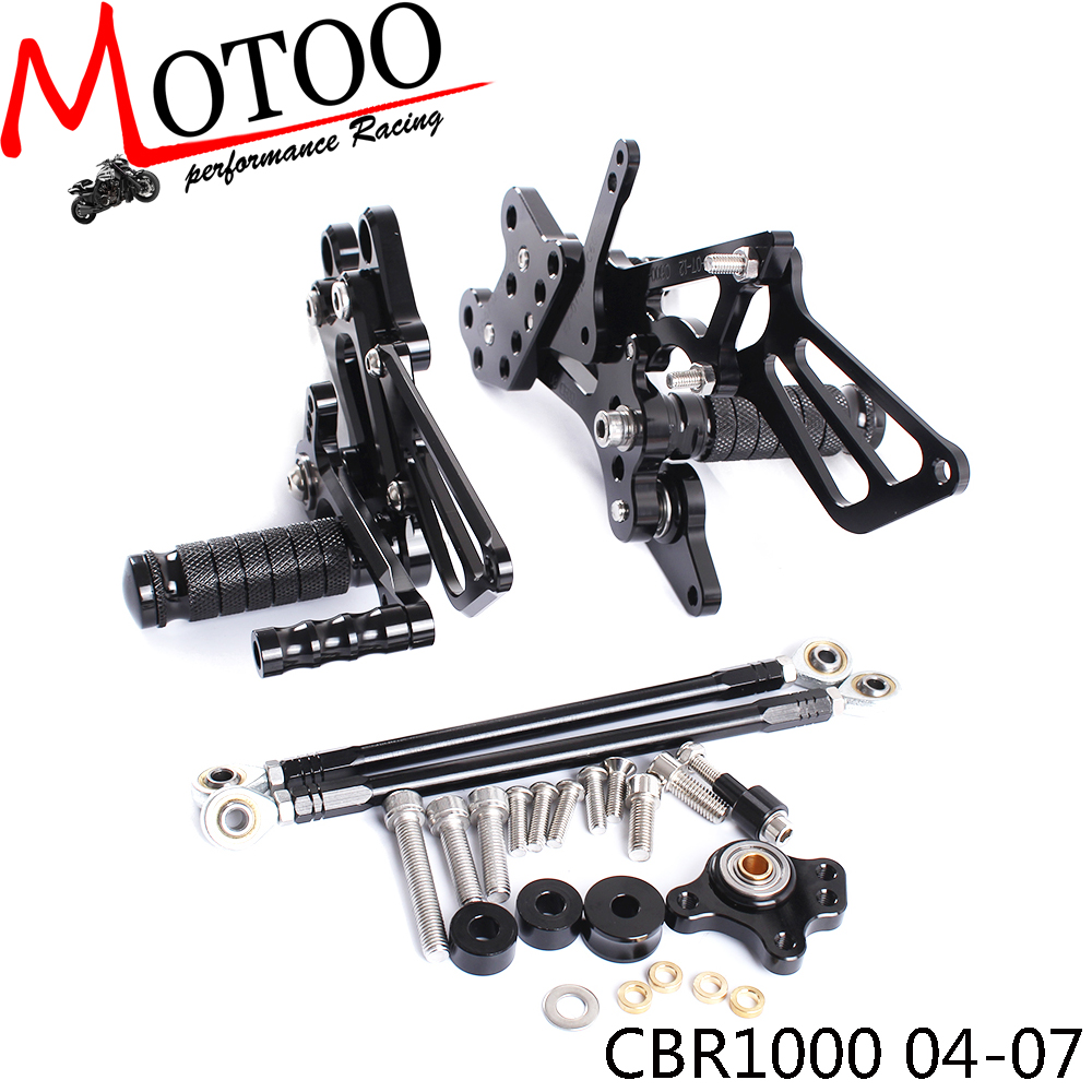 Full CNC Aluminum Motorcycle Adjustable footrest footpeg pedal Rearsets Rear Sets Foot Pegs For HONDA CBR1000RR
