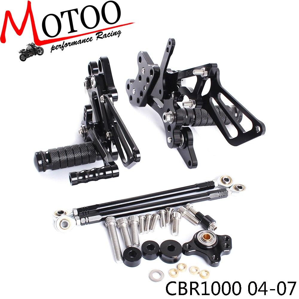 Full CNC Aluminum Motorcycle Adjustable Footrest Footpeg Pedal Rearsets Rear Sets Foot Pegs For HONDA CBR1000RR 2004-2007