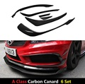 6 Pie / Set For Mercedes W176 A250 A260 A45 Amg 2012 2013 2014 2015 Carbon Fiber Front Splitter