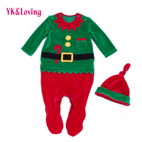 Christmas Rompers 2017 New Unisex Baby Santa Claus Overalls Hat Long Sleeves Newborn Infant Girls Boys