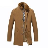 Brand Winter Mens Wool Coat Fashion Fur Collar Slim Fat Casual Thicken Pea Coat Men Jacket Overcoat Manteau Homme M 3XL BF1522