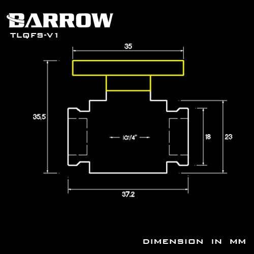 BARROW น้ำวาล์วอลูมิเนียมจับคู่ G1/4 ภายในหญิงหญิงสวิทช์ F ถึง F อินเทอร์เฟซโลหะ V