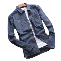 AFS JEEP BRAND CLOTHING MEN S SPRING AUTUMN NEW LONG SLEEVES COWBOY SHORTS SHIRTS COTTON PLUE
