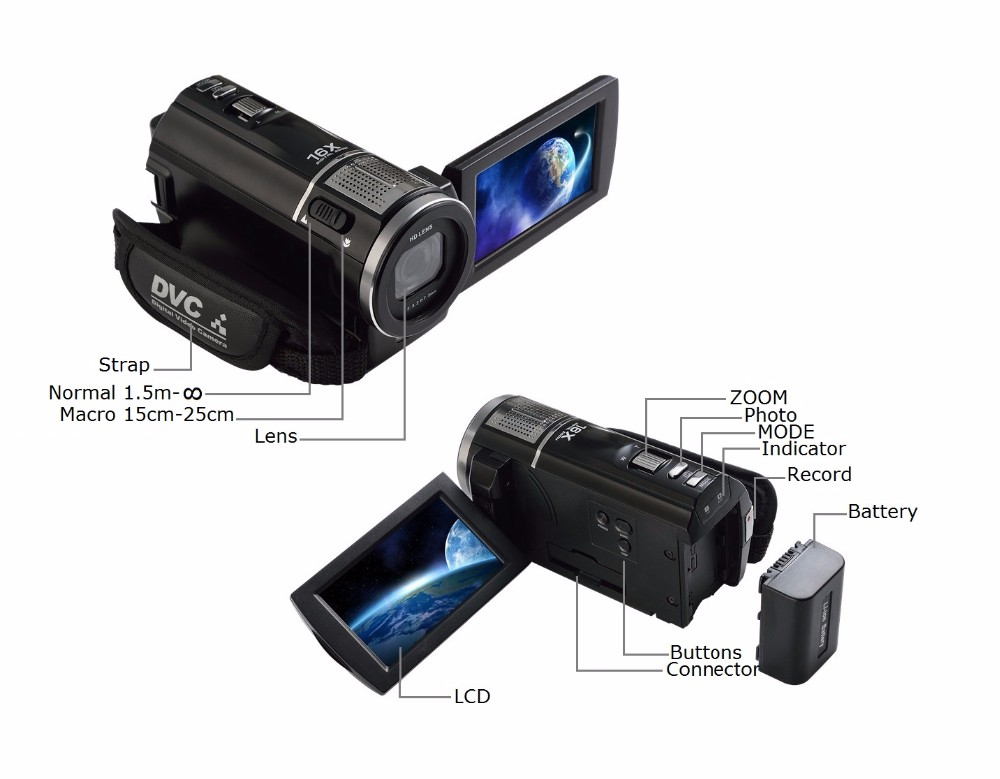 """Marvie 1080p 30fps filmadora Video Recorder 24MP 16X Anti-shake Macro Portable Camcorder 3"""" Touch Screen HDMI out Video Camera 4"""