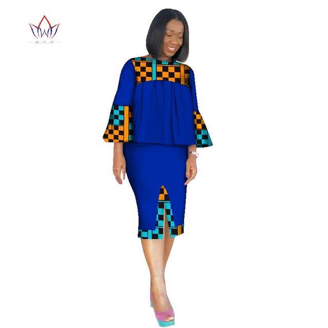 African Clothing Women Ankara Two Pieces Set Long Sleeve Crops Tops   Skirt Set  Women Bazin Riche African Clothing 6XL WY2571 3f23b4b36563
