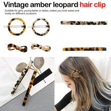 Women Acrylic Hair Pin Clip Leopard Korean Geometric Water Drop Shape Hairpin Clips Styling Accessories