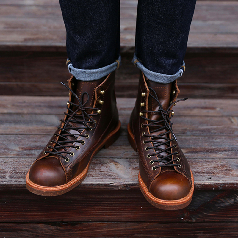 Handmade Genuine Leather Red Boots Men Casual British Wing Autumn Winter Shoes High Quality Ankle Boots Winter Boots FM237 new fashion men boots motorcycle handmade wing genuine leather business wedding boots casual british style wine red boots 8111