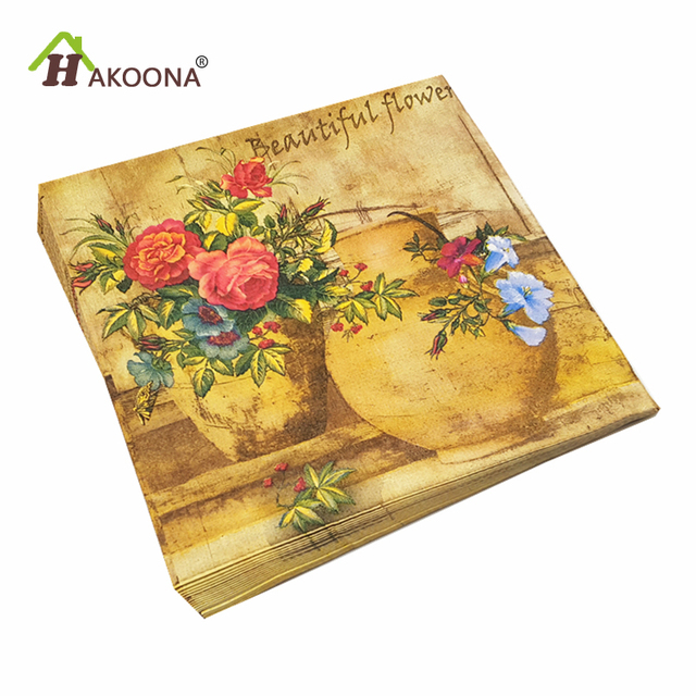 225 & US $9.38 |HAKOONA 60 PIECES Decoupage Paper Napkins For Vintage Oil Painting Vase Disposable Table Napkins 3 Bags 33*33cm-in Table Napkins from Home \u0026 ...