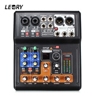 LEORY 6 Channel Karaoke Digital Sound Amplifier Built in 48V Phantom Power Mini Microphone Audio Mixer Mixing Console With USB