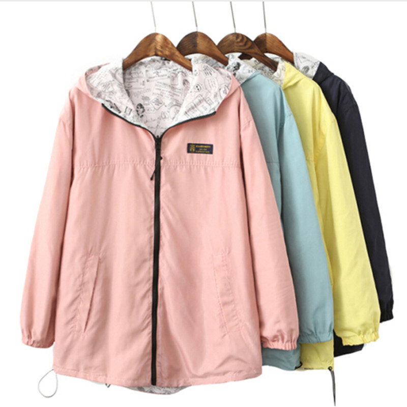 2018 Fashion women harajuku   Basic     Jacket   Pocket Zipper hooded two side wear Cartoon print outwear loose plus size   jackets