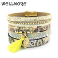 WELLMORE pulseira de couro flores amarelas mulheres charme pulseiras ímã fivela pulseira Da Amizade Bohemian pulseiras & bangles