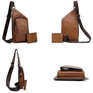 Image 5 - JEEP BULUO marque hommes sacs de poitrine 2 pièces ensemble été voyage sac à bandoulière pour homme en cuir fendu Corssbody sac de haute qualité hommes sacs