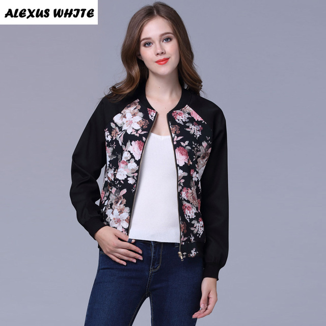 0adc84c21 Autumn 2017 Women's Short Jacket Fashion Female Long Sleeved Floral Printed  Coat Winter Zipper Outwear-in Basic Jackets from Women's Clothing & ...