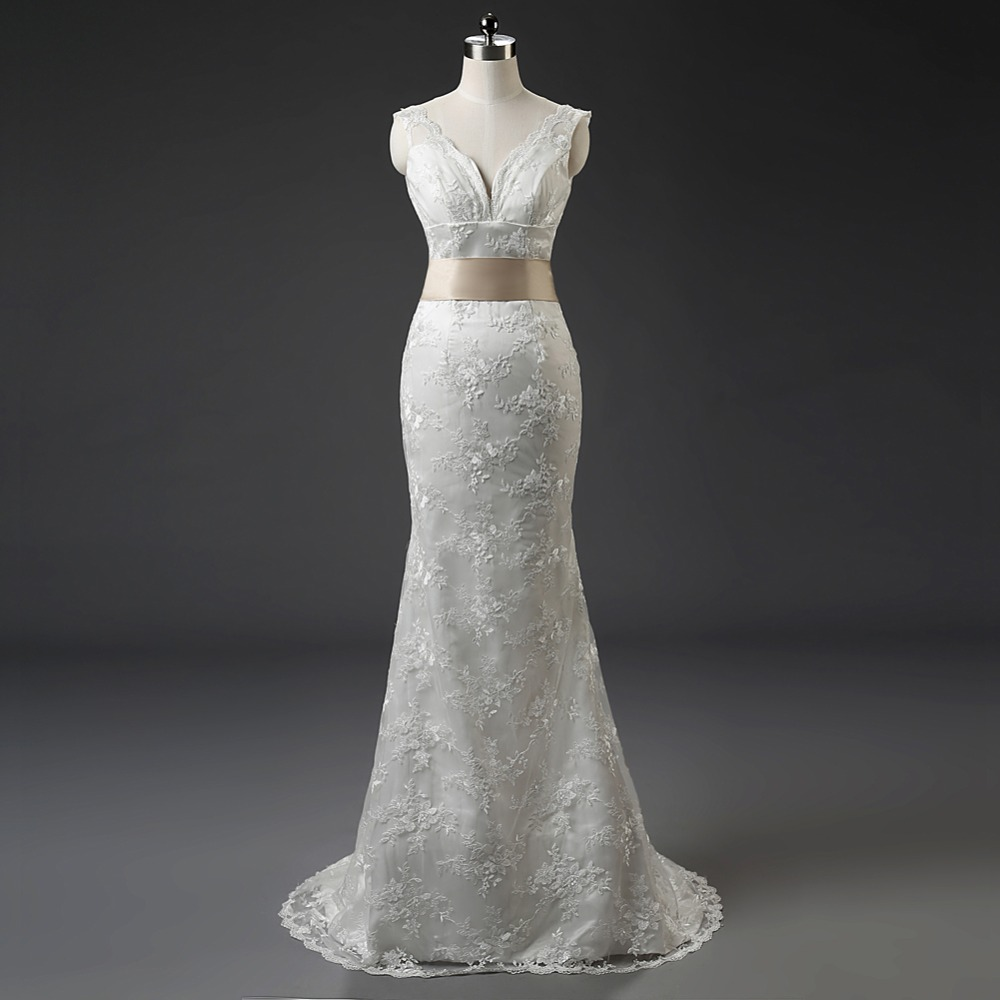 In stock hot sale v neck zipper back mermaid lace wedding for Mermaid wedding dresses on sale
