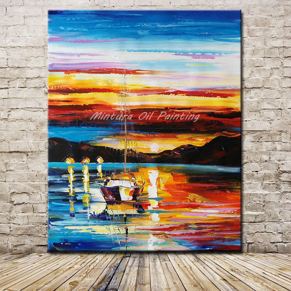 Mintura Art Hand Painted <font><b>Knife</b></font> <font><b>Boat</b></font> Landscape Oil Painting On Canvas Modern Abstract Wall Art Picture For Living Room Home Decor image