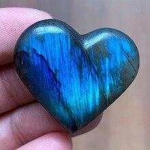 13 г Мадагаскар натуральный Лабрадорит сердце полированный кварцевый кристалл сердце рок чакра Рэйки балансировки
