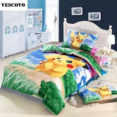 100% cotton Cartoon anime Pikachu Pokemon 3pcs/4pcs twin Full Queen bedding set bedspread