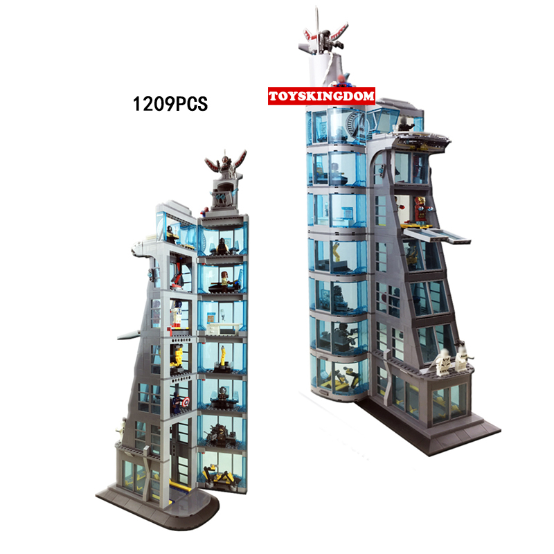 Marvel super heroes Stark Avenger Tower moc building block with light White Tiger spiderman IronMan thor figures brick 76038 toy