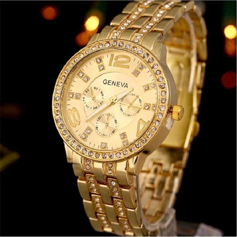 Ouriner Top BIG Golden Geneva reloj de metal inoxidable Rhinestone de - Relojes para mujeres