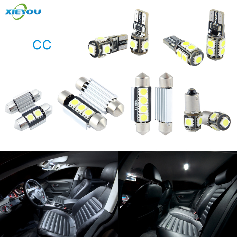 XIEYOU 9pcs LED Canbus Interior Lights Kit Package For Volkswagen VW CC cawanerl car canbus led package kit 2835 smd white interior dome map cargo license plate light for audi tt tts 8j 2007 2012