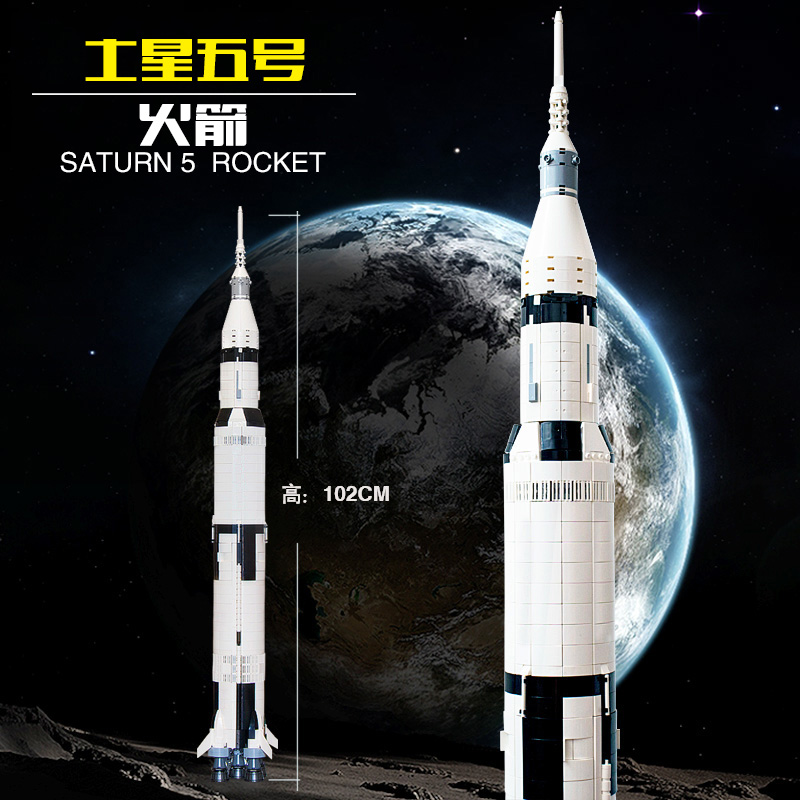 Lepin 37003 1969Pcs Creative Series Apollo Saturn V Launch Vehicle Set Children Building Blocks Bricks Military Toy 21309 Gifts 1969pcs apollo saturn v model building blocks 37003 assemble children kid toy bricks compatible with lego